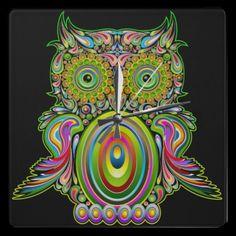 #Owl #Psychedelic #Popart Wall Clock    http://www.zazzle.com/owl_psychedelic_popart_wall_clock-256607266305273691