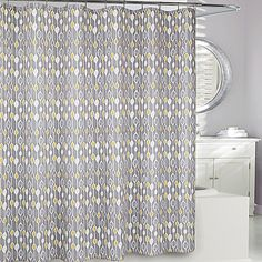 Moda at Home Greystone Fabric Shower Curtain in Grey