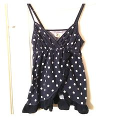 Polkadot shirt Spaghetti strap shirt with ruffles, navy and white Hollister Tops Tank Tops