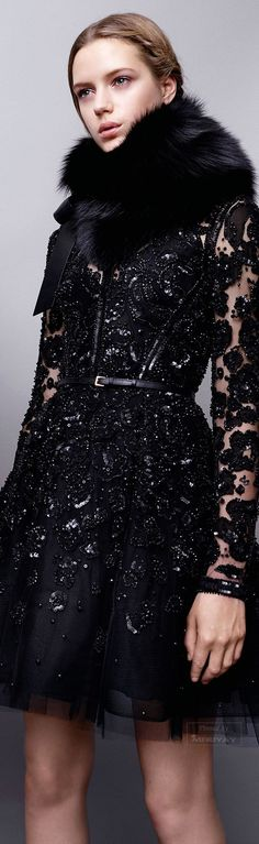 Elie Saab Pre-Fall 2015~ all about haute glitz! Lace, sequins, embroidery, and fur. All The trends of the coming season in one dress. Un peu trop? (Too much?)