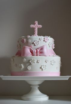 Christening Cake~ Pink and white blossoms decorate this marble cake with chocolate buttercream filling.AlexandraChristening Cake~ Pink and white blossoms decorate this marble cake with chocolate buttercream filling. Pretty Cakes, Cute Cakes, Beautiful Cakes, Fondant Cakes, Cupcake Cakes, Ideas Bautizo, Religious Cakes, Confirmation Cakes, First Communion Cakes