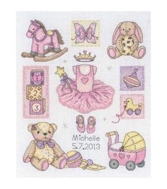 Stitch a special gift for your little girl with the Maia-Counted Cross Stitch Kit. The kit features an adorable design that displays your little babys name and birth date surrounded by cute images of