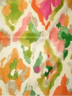 """Jewelscape Watermelon.  Watercolor print fabric from P. Kaufmann Textiles -100% linen multi purpose fabric for light use upholstery, drapery, pillow covers, top of the bed, chair cushions or any home décor decorating project. Repeat; V 25.25"""" x H 13.5"""". 54"""" wide. Unbranded soil and stain repellant finish."""