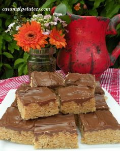 Peanut Butter Rice Krispie Bars  (try mixing butterscotch chips half and half with the chocolate)