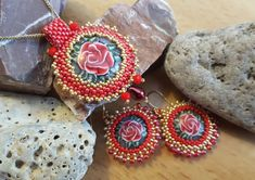Set red rose earrings and pendant, earrings and necklace, red and gold jewelry set, statement jewelry set, royal jewelry set, gift for Mom