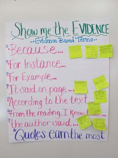 Show Me the Evidence: Sticky notes added to this anchor chart allow you to keep it up-to-date with the best ways each sentence starter was used.