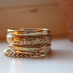 Five Gold Stacking Rings Etsy 130