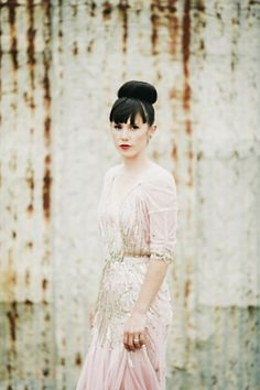 Dying over the bangs and top knot (ballerina bun) combo for a wedding hairstyle.