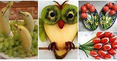 20 decoraciones con frutas y verduras qué harán la delicia de grandes y chicos , para reuniones familiares o porqué no? para fiestas y ... Food Art, Yogurt, Catering, Healthy Snacks, Buffet, Food And Drink, Appetizers, Banana, Fruit