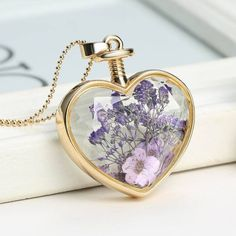 Flower Heart Terrarium Necklace - FREE SHIPPING