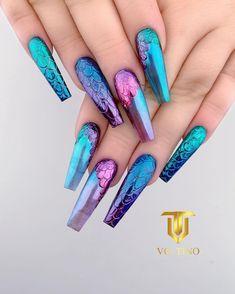 Girls Nail Designs, Purple Nail Designs, Acrylic Nail Designs, Nail Art Designs, Blue Coffin Nails, Cute Acrylic Nails, Purple Nails, Gorgeous Nails, Pretty Nails