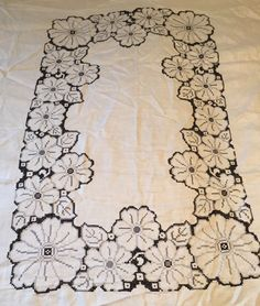 "Vintage Embroidered Tablecloth 68 x 85"" & 12 Napkins 15.5"" sq Gray Black Flowers"