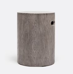 Blanche Concrete Faux Bois Round Stool Suitable For Outdoor Use Finishes: Black Concrete, Dark Gray Concrete or White Concrete