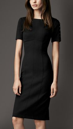 Burberry - Button Detail Jersey Dress