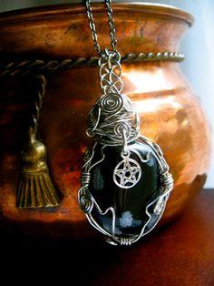Dark Moon-  Large Obsidian Amulet.