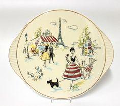 Keramik Tortenplatte Grünstadt. Evtl Manufaktur von 'Eigner Herd ist Goldes Wert' Brettchen