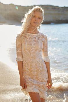 Short beach wedding dress with sleeves |BHLDN
