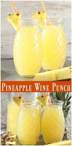 Easy Pineapple Wine Punch ~ 750 ml Moscato Wine 2 cups pineapple juice 1 cup orange juice 24 oz Sprite or lemon lime soda