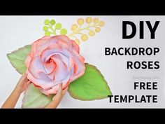 [FREE template and tutorial]: Backdrop rose from printer paper. DIY large roses from plain printer paper for your event backdrop with my full video tutorial and FREE template. So easy, so simple yet beautiful. Why not DIY wedding or party decor? Large Paper Flowers, Giant Paper Flowers, Paper Roses, Diy Flowers, Fabric Flowers, Rose Tutorial, Paper Flower Tutorial, Diy Backdrop, Backdrops