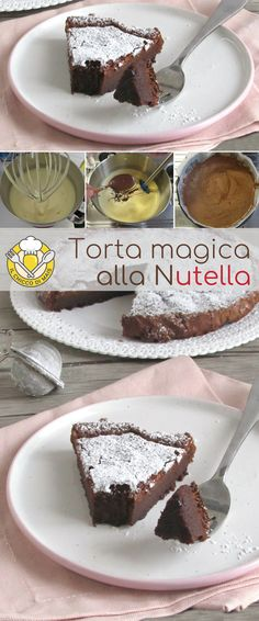 Nutella magic cake, with only two ingredients! A fast for a dessert without flour and without eggs, excellent warm or cold. A Nutella dessert with a unique consistency, moist and excellent as a dessert after a meal. Brownie Cookies, Nutella Cookies, Flourless Chocolate Cakes, Hot Chocolate Recipes, Nutella Funny, Nutella Ganache, Cake & Co, Diy Food, Yummy Cakes