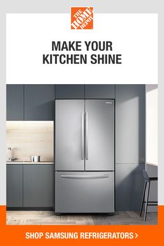 Stay stocked up on groceries with Samsung French-door refrigerators. The increased capacity means you can keep more meals on hand. And the modern styling and finish blend beautifully with any space. Tap to shop Samsung refrigerators today at The Home Depot. Kitchen Shop, Kitchen And Bath Design, French Door Refrigerator, Refrigerator Cabinet, Led Light Design, Diy Crafts To Do, Stainless Steel Doors, Craftsman Style House Plans, Large Drawers