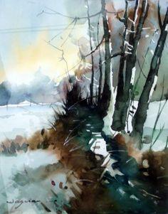 matin-glacial.jpg - Peinture,  60x80 cm ©2014 par jean guy DAGNEAU -                                                            Art figuratif, Papier, Paysage, nature