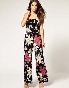Floral Print Palazzo Beach Playsuit - Lyst