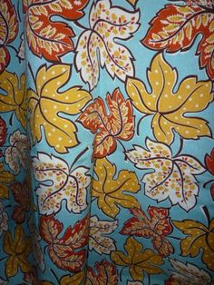 VINTAGE RARE LINEN RAYON LEAVES FABRIC 1930's TURQUOISE RED YELLOW WHITE