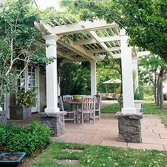 Wood Garden Arbor, I want one and a patio for the backyard....