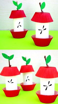 Paper roll apple core craft for preschoolers, kindergartners and older kids. Use paper rolls, cupcake liners and sticks to make this easy apple craft. snacks diy Paper Roll Apple Core - Easy Fall /Autumn Craft For Kids Paper Craft Work, Fall Paper Crafts, Fall Crafts For Kids, Kids Diy, Craft Kids, September Kids Crafts, Simple Paper Crafts, Simple Craft Ideas, Fall Crafts For Preschoolers