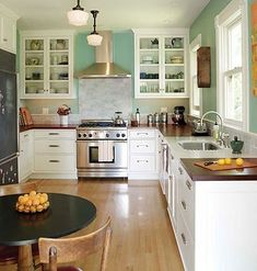White cabinets, aqua walls, and wooden butcher block countertops. <3 by corinne