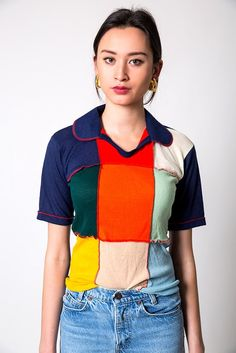The Vintage Knit Patchwork Blouse Tee   Denim Refinery