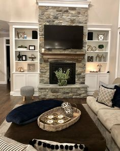 3 Great Tips AND Tricks: Living Room Remodel Before And After Furniture Placement living room remodel ideas garage.Living Room Remodel On A Budget Renovation living room remodel with fireplace spaces.Living Room Remodel Before And After Pictures. Fireplace Built Ins, Home Fireplace, Living Room With Fireplace, Fireplace Design, Fireplace Ideas, Fireplace Remodel, Brick Fireplaces, Fireplace Stone, Tv Over Fireplace