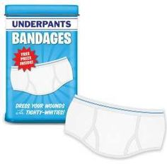 Cover those boo-boos with some tighty-whities or is it whitey tighties? 12 latex-free clean white underpants bandages in a nice little tin. $4.95   Exclusive 15% off GiftInsider COUPON CODE below. Type UNDERPANTS in search box.     baronbob.com