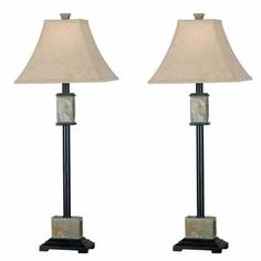 Kenroy Home 31201 Bennington Buffet Lamp, 2 Pack, Natural Slate. 2 buffet lamps. 32 inch buffet lamp. 12 inch width shade. Natural slate finish. Fawn fabric shade.