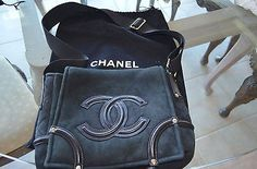 Chanel cross body suede tote