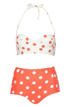 LOVE this retro polka dot bikini in #coral - a steal at only $68!  http://rstyle.me/n/jqqbrnyg6