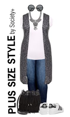 """""""Plus Size Hooded Maxi Vest - Society+"""" by iamsocietyplus ❤ liked on Polyvore featuring Sam Edelman, adidas Originals, BaubleBar, H&M, plussize, plussizefashion, societyplus and iamsocietyplus"""
