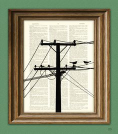 POWER LINES with BIRDS Electrical Tower Pole and Wires print over an upcycled vintage dictionary page book art. $7.99, via Etsy.