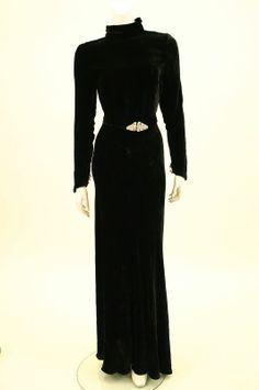 1930s silk velvet gown.