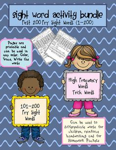 Sight Word Page Activities: This reinforces the 100 Fry Sight We all know how important sight word recognition is! This packet was designed to reinforce sight word recognition. It contains the second 100 Fry Sight Words. Sight Word Worksheets, Sight Word Activities, Teaching Activities, Teaching Ideas, Teacher Resources, Teacher Games, Teacher Freebies, Classroom Freebies, Teacher Tools