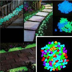 100Pcs Glow In The Dark Pebbles Luminous Stones Home Garden Fish Tank Decoration