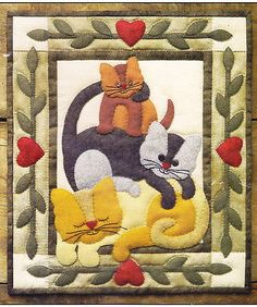 PATTERN - Cat Stack - cute applique and pieced wall quilt PATTERN