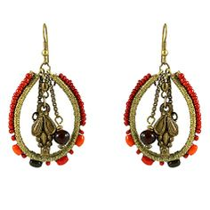 Golden Red Brass Earrings ~ Best selection of Tunics & matching accessories ~ Flat postage worldwide ~ Petite to Plus sizes ~ www.ilovetunics.com