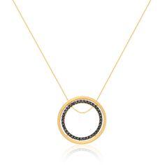 Pingente Ouro Amarelo e Diamantes Negros Simetria