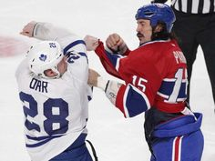The Canadiens' George Parros and Colton Orr of the Toronto Maple Leafs fight during game at the Bell Centre on Nov. Montreal Canadiens, Hockey Baby, Toronto Maple Leafs, Sports Teams, Nhl, Old School, Centre, Canada, Game