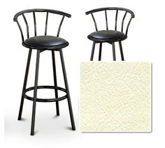 """2 Off White Vinyl Seat Black Metal Custom Barstools with Backrest Set (Madrid... by The Furniture Cove. $145.87. Black Metal Finish. Set of 2 Bar Stools. These are new 29"""" Black metal bar stools with footrests and swivel seats with a backrest! The seats are made of the custom Off White vinyl shown in the picture. They are one of a kind and very nice. The pads are 14"""" across and the seat is 29"""" tall. The entire height is 39"""" to the top of the backrest. The sides of the seat hav..."""