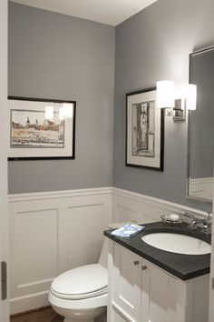 wall color and trim for powder room Pikes Peak Gray - Benjamin Moore. Traditional Powder Room by Larchmont Interior Designers & Decorators Downstairs Bathroom, Bathroom Renos, Wainscoting Bathroom, Wainscoting Styles, Bathroom Fixtures, Gray Bathrooms, Painted Wainscoting, Master Bathroom, Bathroom Grey