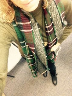Blanket scarf, olive sweater, old navy pants, fringe booties