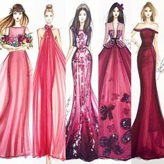 Holly Nichols - Burgundy fashion illustrations ♦F&I♦ Fashion Sketchbook, Fashion Illustration Sketches, Illustration Mode, Fashion Sketches, Instagram Ladies, Burgundy Fashion, Fashion Design Drawings, Dress Sketches, Dress Drawing